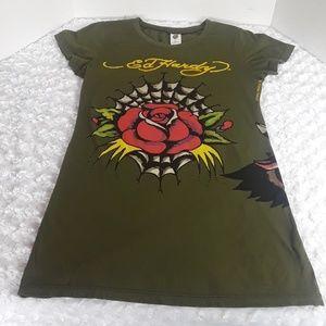 Womens Ed Hardy graphic tshirt,  size L